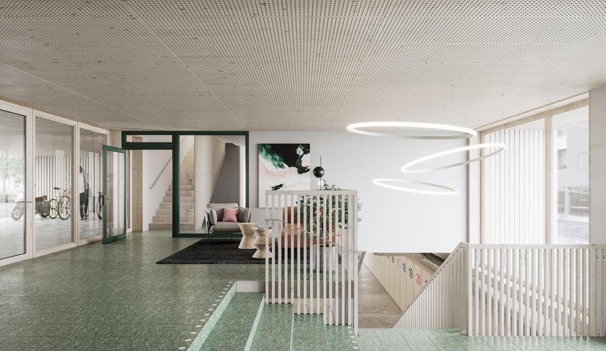 Lobbyn . Här delar fler funktioner på ytan, från entrén finns ett nära samband med gården och Hallen en trappa ned. Det gemensamma funktionerna i huset har utformats för att möjliggöra delande samt skapa en attraktiv och trygg miljö.