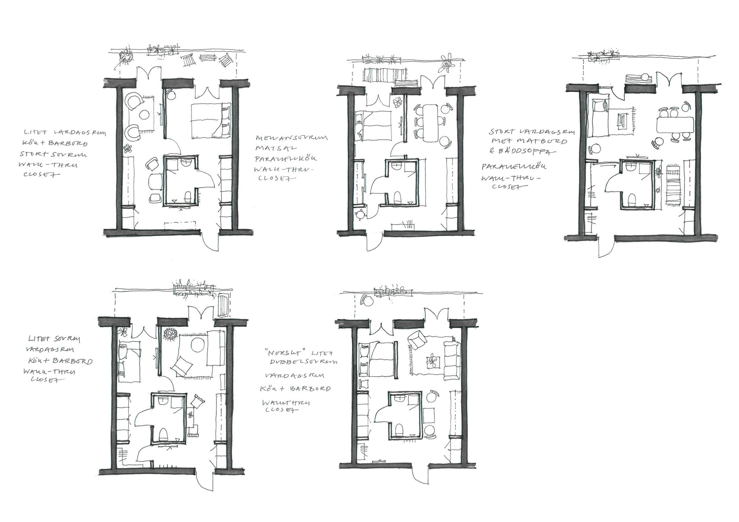 Planlösningar och alternativa möbleringar . Lägenheternas planlösning är utformade med en rundgång runt våtkärnan, vilket ger en möjlighet till variation trots sin lilla storlek. Indelning av vardagsrum/sovrum kan lösas på olika sätt inom lägenheten.