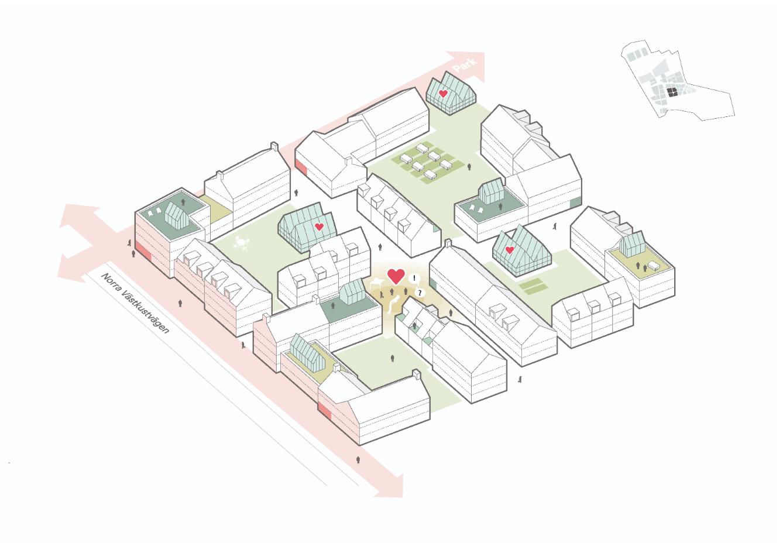 """Lokala grannskapsplatser och """"grannlyckor"""" är mindre skyddade lokala platser för möten, fest och lek. Gemensamhetslokaler med delningsfunktioner."""