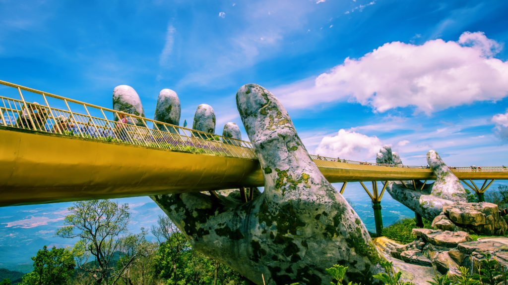 The rapidly-becoming-famous Golden Bridge up in the Ba Na Hills provides relief from Vietnam's heat.