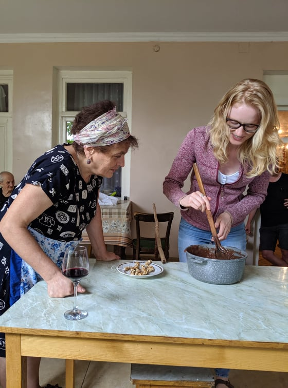 Our friend Gillian learning how to make this traditional Georgian dessert.