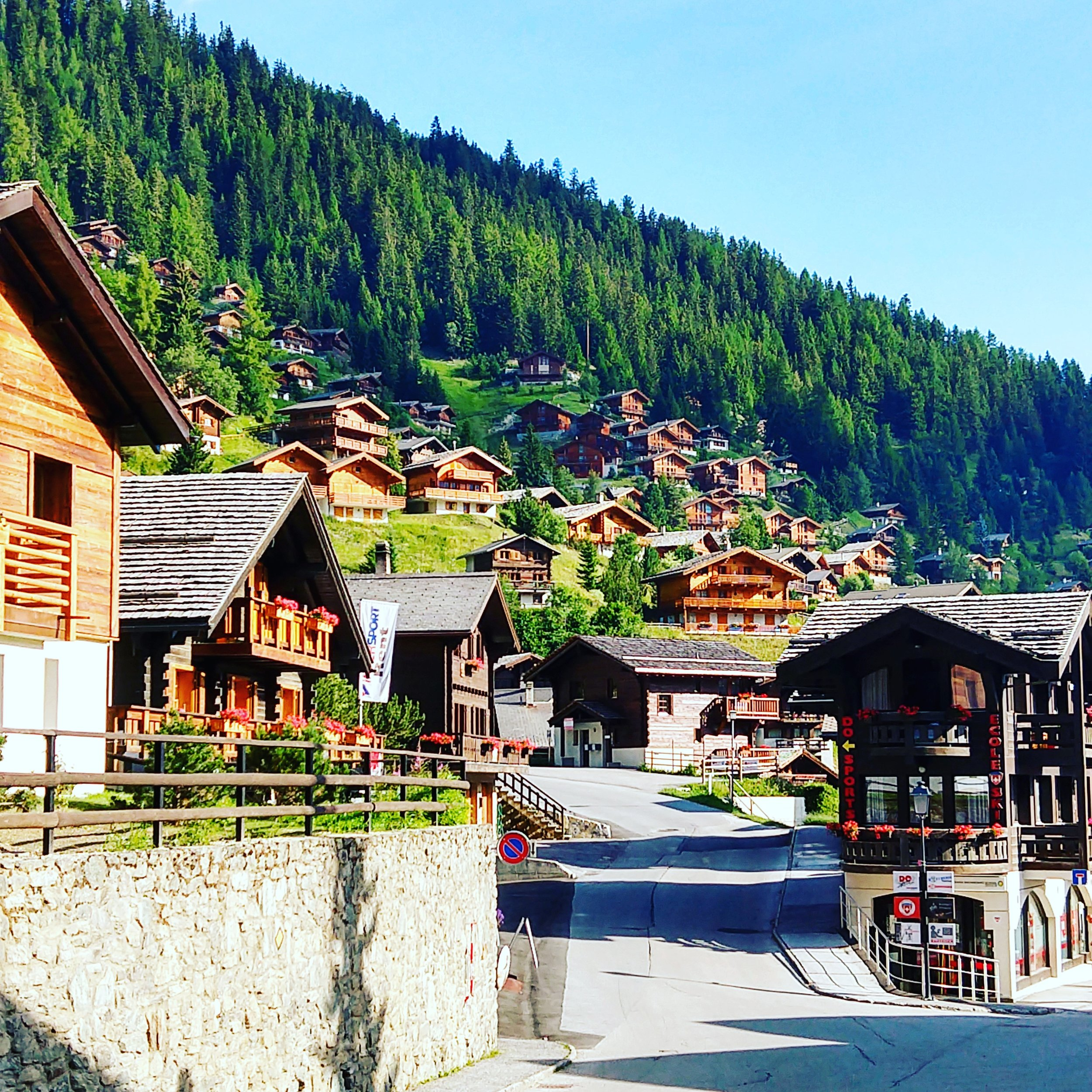 Charming chalets dot the mountainside above Grimentz.