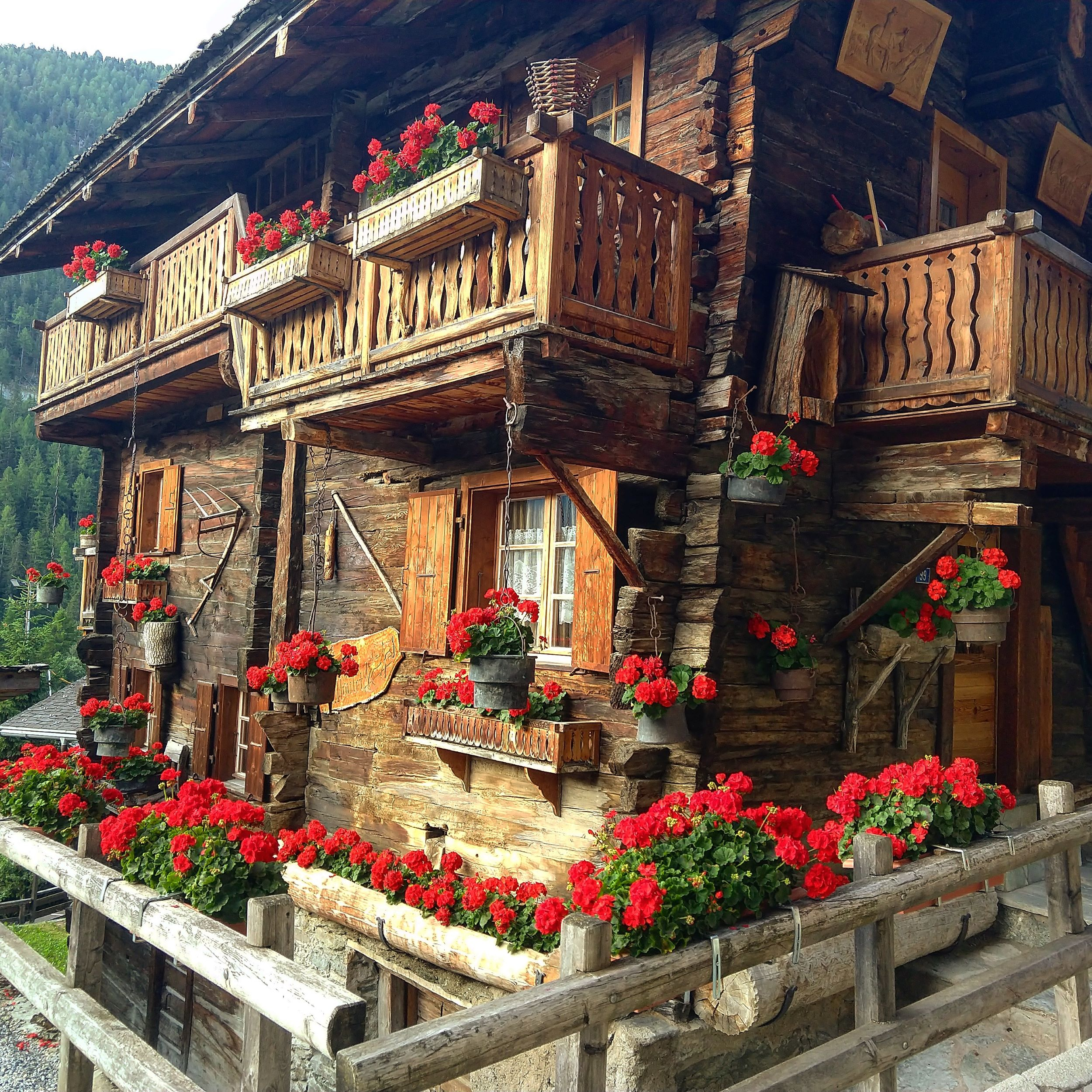 "This chalet is part of Grimentz's famous ""Geranium Trail."""