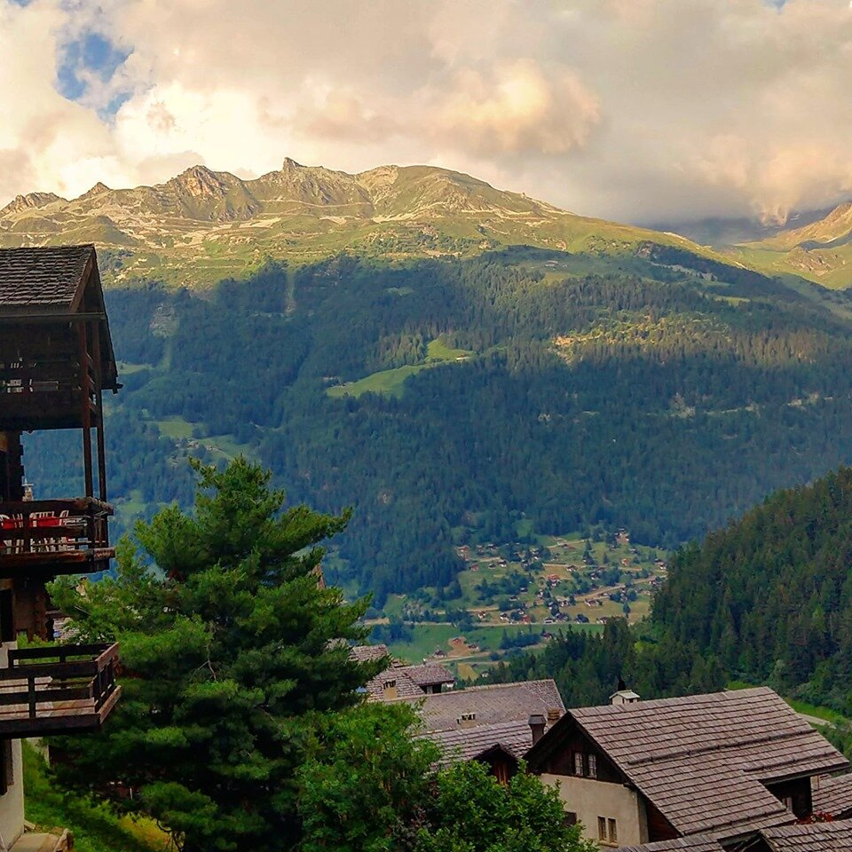The view from our chalet in Grimentz. Switzerland. This was one of our rural locations.