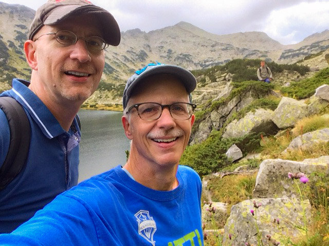 Brent and Michael hiking in Bulgaria.
