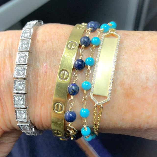 Don't you love these lapis and turquoise gold bracelets? Another new design is this gold and diamond ID bracelet.