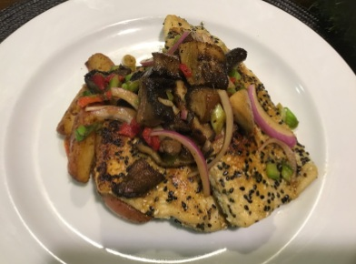 Crispy Rainbow Trout with Pickled Mushroom Salad