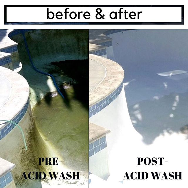 Before and after the acid wash #poolcleaning #greenpool #pooltime🏊