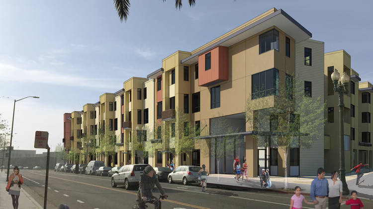 A rendering of the 94-unit residential building under construction in the Fruitvale Transit Village.
