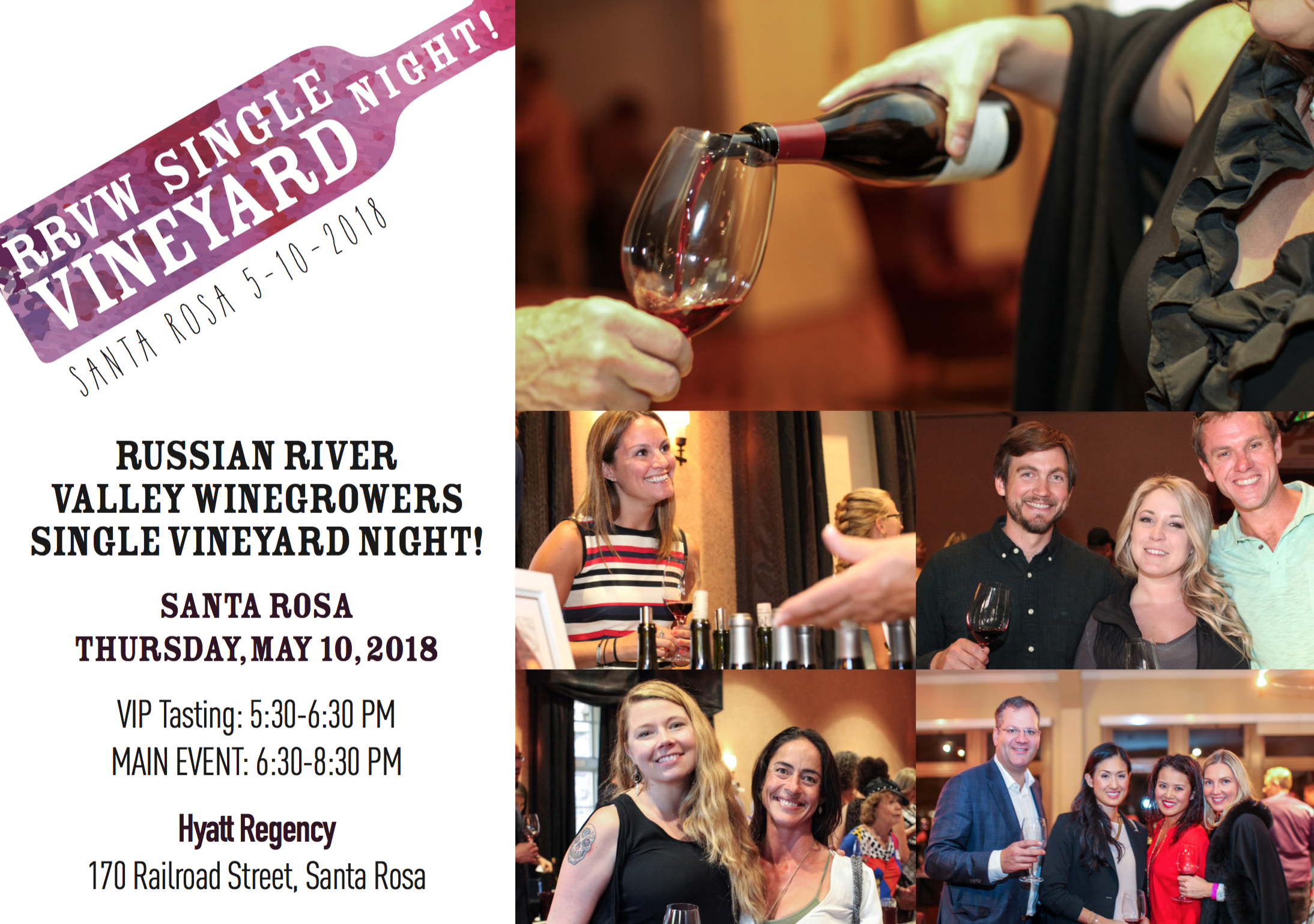 Join Russian River Valley Winegrowers for an amazing tasting experience of Russian River Valley single vineyard wines. More than 30 wineries will be pouring small-lot, single vineyard wines from the Russian River Valley, including Pinot Noir, Chardonnay, Zinfandel, Syrah and Sauvignon Blanc. Guests will dine on delicious appetizers.  The VIP Experience  A limited number of VIP tickets are available. Enter one hour early beginning at 5:30pm and get the chance to meet the winemaker and recieve exclusive tastings of rare, limited release and tasting room wines only wines.  Purchase Tickets ->   Click Here