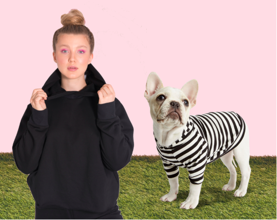 Robbers - Are you and your dog both sneaky, mischievous and sly? Team up in this covert costume and go stir up some trouble this Halloween night! Sneak around town in the SKODIA HANK HOODIE while your sidekick watches your back in the LOVE THY BEAST STRIPED HOODIE. Just add black masks and pair with matching sweatpants and the two of you will (literally) steal the show!