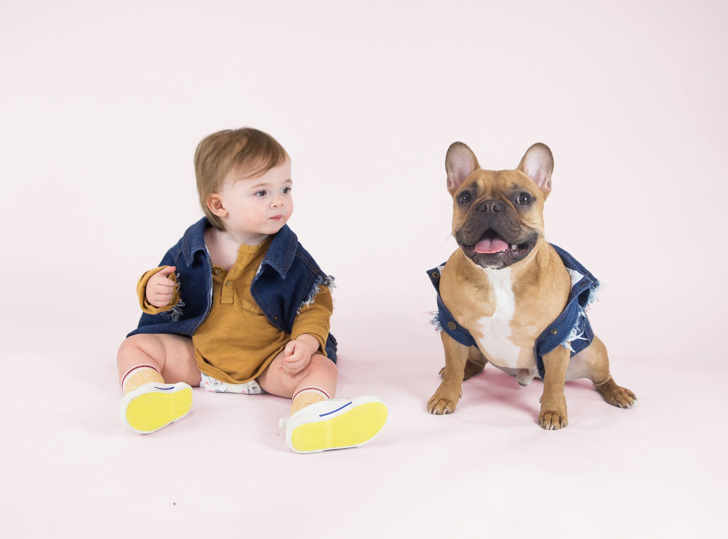 Favourite Goodboy Swag - The best thing about having a dog and baby who are about the same size is you can dress them in matching outfits. Its like having twins… but much, much better. Their favourite matching outfit to rock is the Pethaus Raw Denim Vest. Too cool for school.