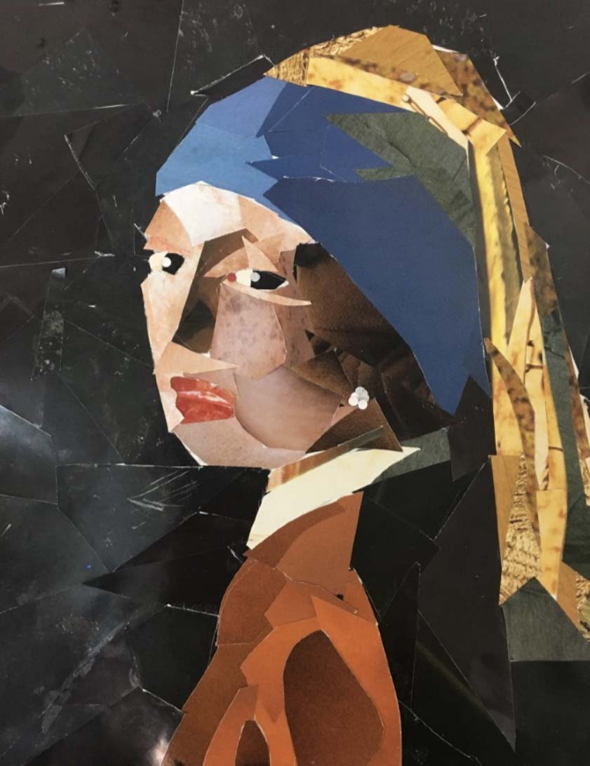 The Lady with the Pearl Earring Collage  Magazine Clippings on Paper  8 inches x 10 inches