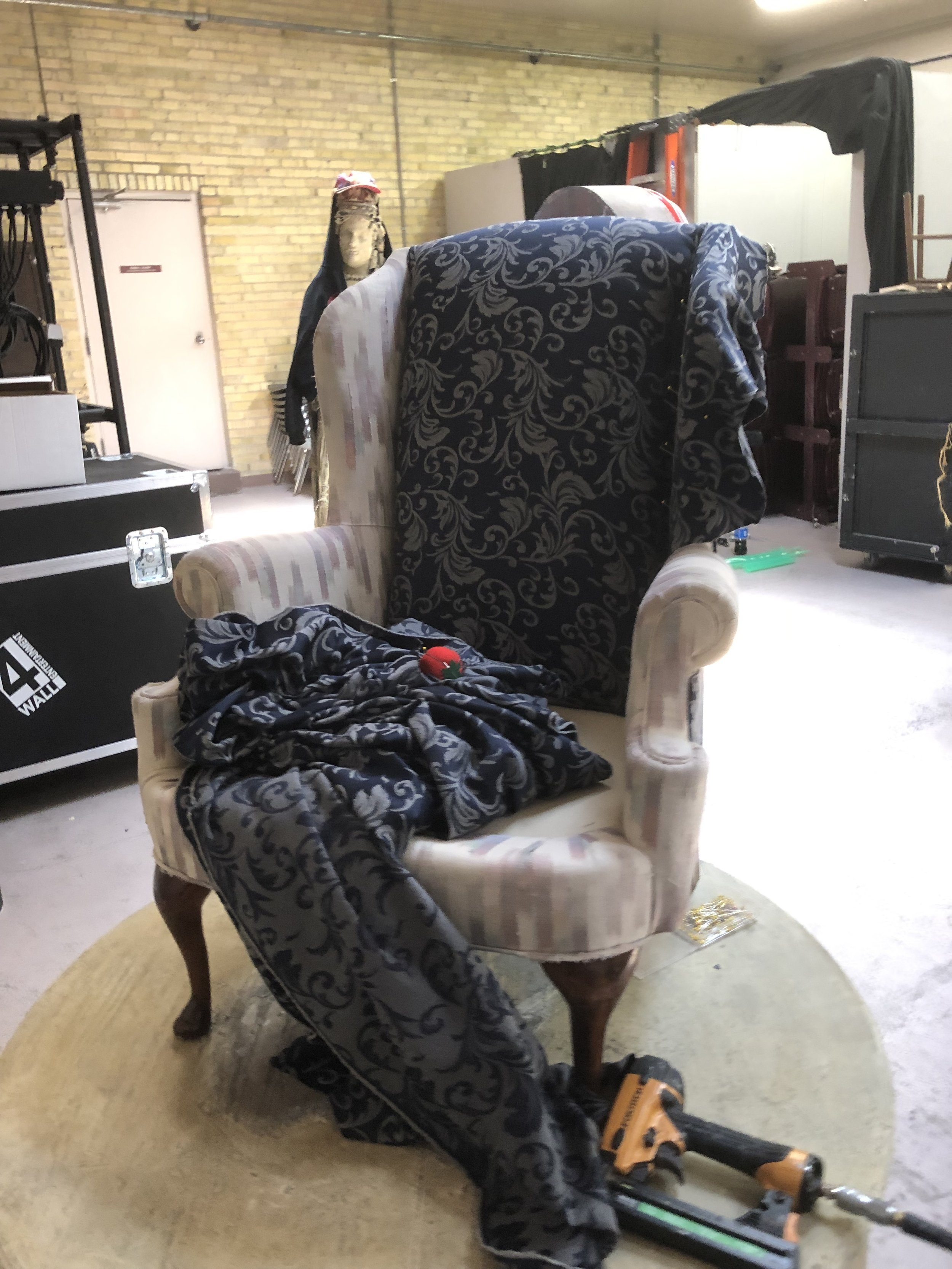 Wing-back Arm Chair  Fabric Recover   Marriage of Figaro   Utah Festival Opera and Musical Theatre, 2019