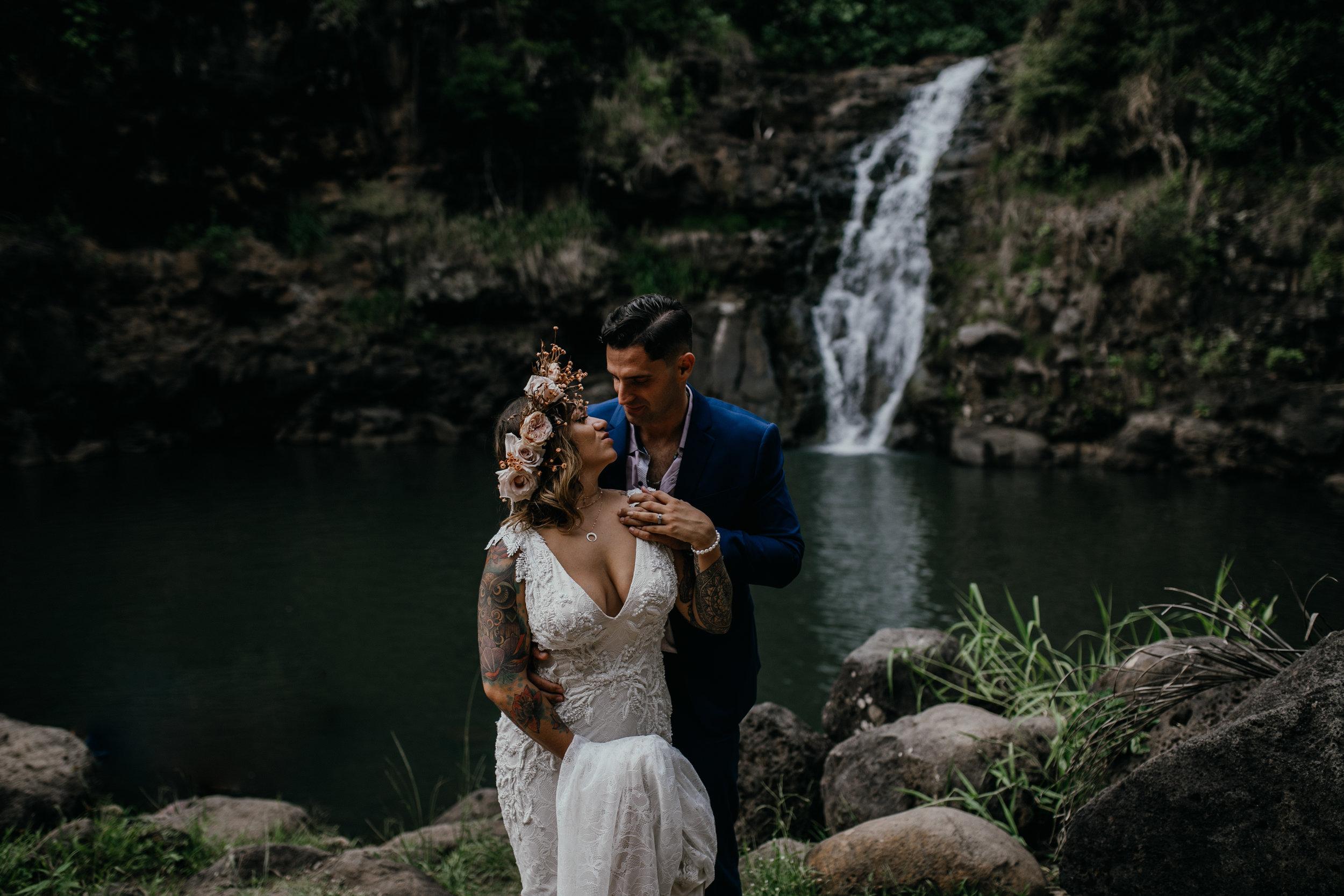 Oahu Hawaii Waterfall Elopement Waimea Falls Emily Choy Photography