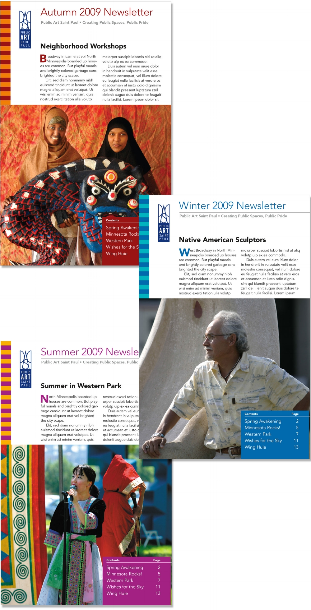 Three newsletters in a booklet format