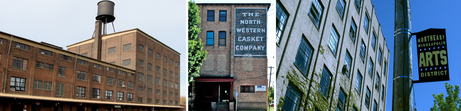 These old industrial buildings in Northeast Minneapolis are now studios for hundreds of artists. From left, Northrup King Building, Casket Arts Building, California Building