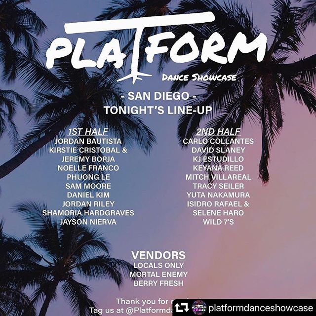 SD TONIGHT it's going down at @platformdanceshowcase put together by our cast member @jujutr0n !! There are also 5 of our cast members performing💜💜💜