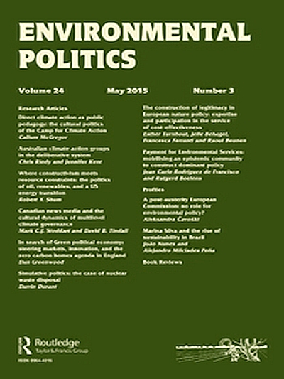 "- Ard, K., Garcia, Nick*, and Kelly, Paige*. 2017. ""Another Avenue of Action: An Examination of Climate Change Countermovement Industries Use of PAC Donations and Their Relationship to Congressional Voting over Time."" Environmental Politics 26(6):1107–31."