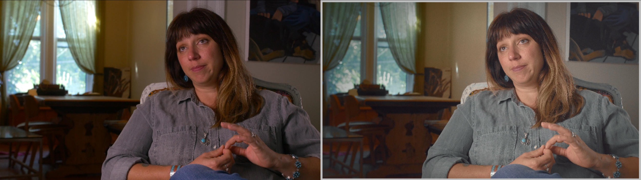 All scenes of the film, with the exception of 'The Cube', were meant to feel run and gun. Like they got off their bikes, set up cameras, sat down, and stared the their interview. Before (Left), After (Right).