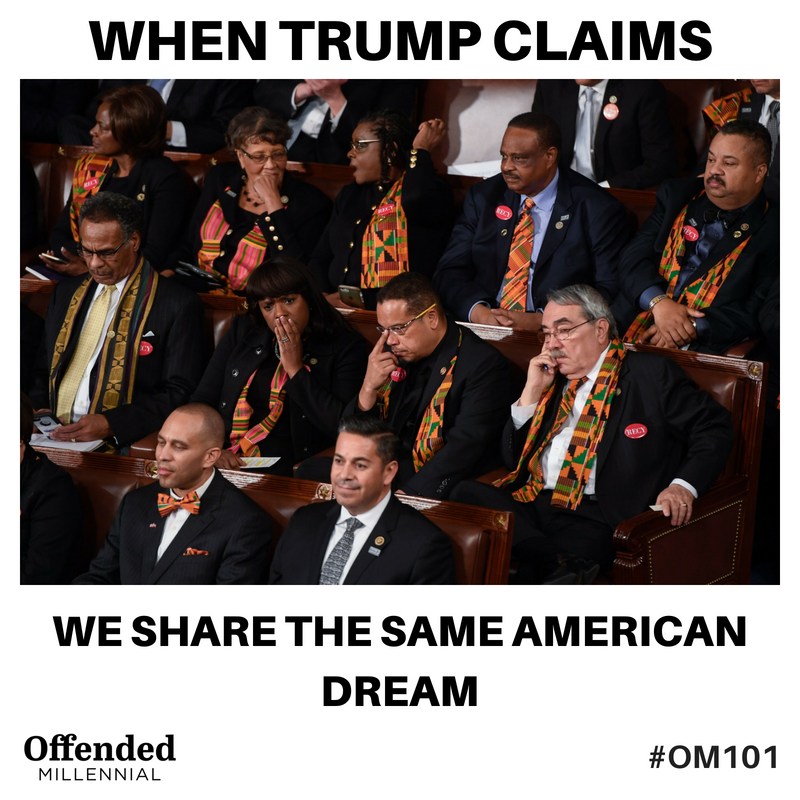Congressional Black Caucus reacts to Trump's 2018 State of the Union. #OM101 #OffendedMillennial