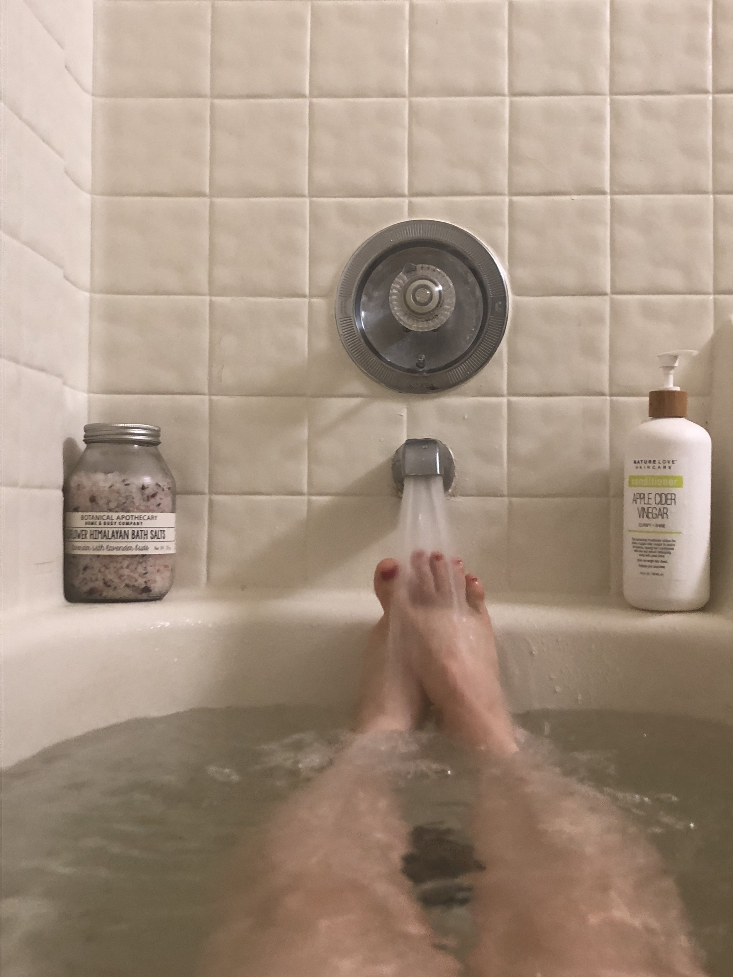 Luxury on the cheap: Bath salts and hair conditioner are from Marshalls. The pedicure I did myself.