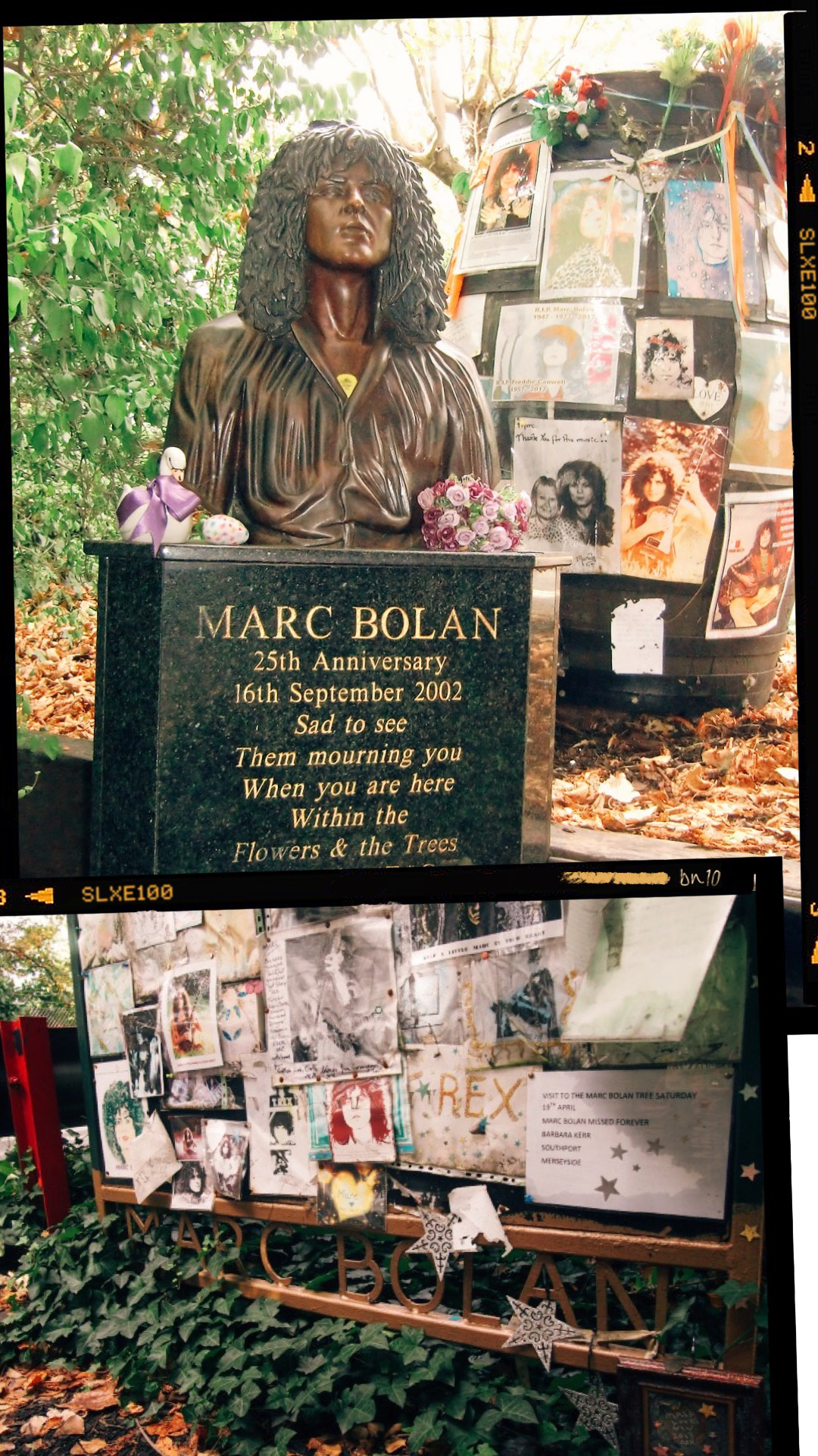 THE MARC BOLAN MEMORIAL - Bolan's Rock Shrine is located at the site where Bolan died in a car crash in 1977. The memorial is considered as a pilgrimage site to fans of Bolan.Location:Queen's Ride, Barnes Common, Barnes