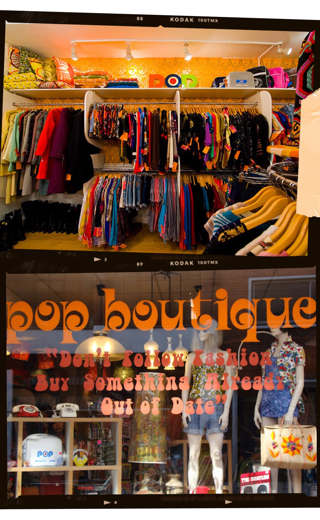POP BOUTIQUE - We love Pop Boutique not only for its funky decor but also for the gorgeous selection of the 1960s to 1980's vintage pieces. If you're tired of only seeing 90's denim and neon windbreaker jackets in most of the London vintage shops, then Pop Boutique is a must-go definitely!Location:30 Short's Gardens, WC2H 9PX