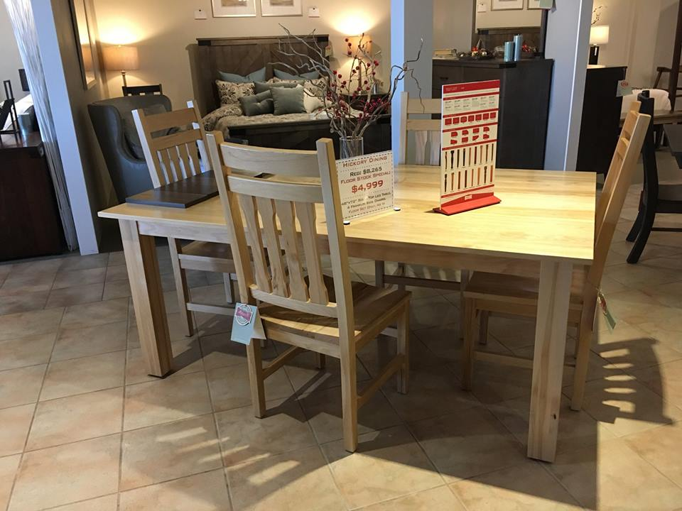 "48""x72"" Solid Top Table with 4 Chairs, Solid Hickory, Now Only $3,999"