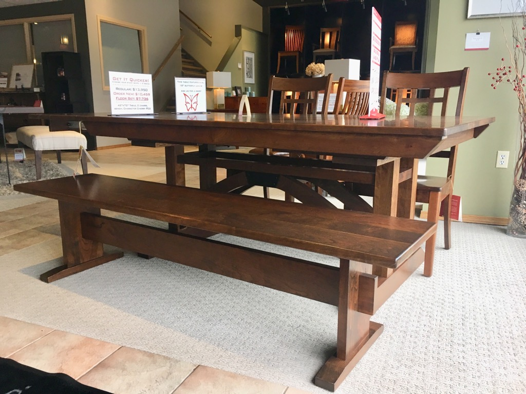 "42""x72"" Trestle with 18"" End Butterfly Leaves, 2 Chairs, and Bench, Now $7,736"