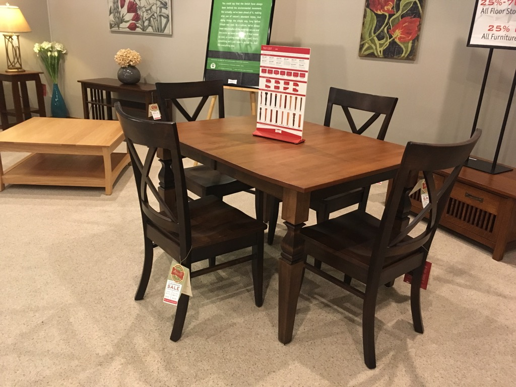"38""x48"" + Two 12"" Leaves and 4 Chairs, Maple, Now Only $3,725"