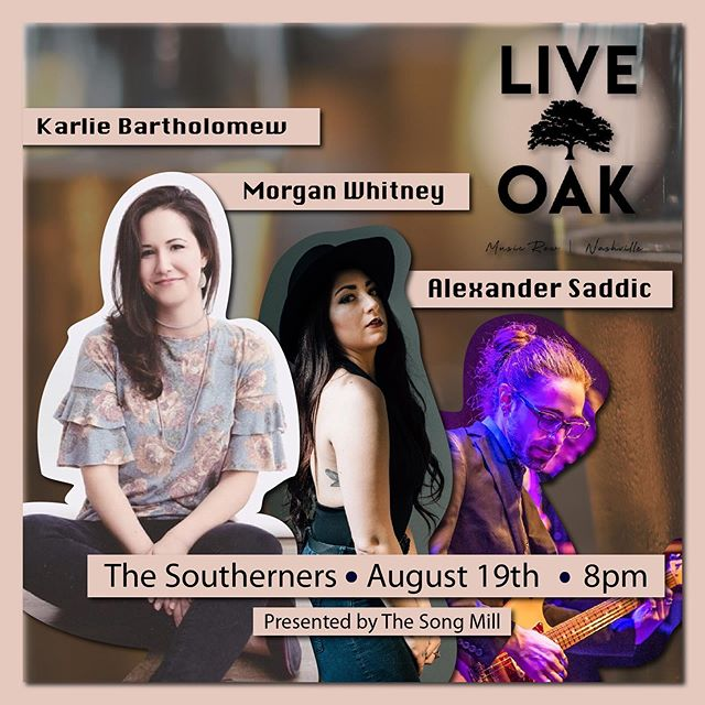 Hey Nashville! I'm playing a round with these cool people this upcoming Monday, the 19th! Come by and hear some new tunes. @live_oak_nashville on Demonbreun at 8PM. - - - - - #girlswhorock #singer #songwriter  #nashvillesongwriters #writersround