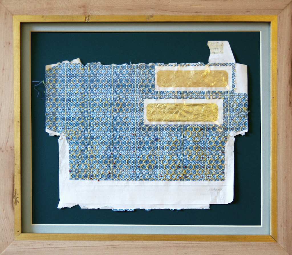 Bee's House , embroidery thread on found envelope, 2014.