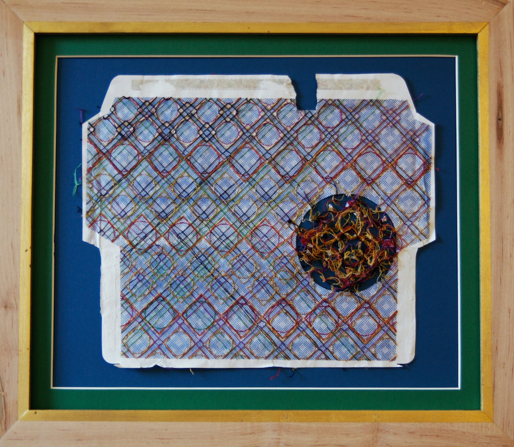 Ptolemy's House , embroidery thread on found envelope, 2014.