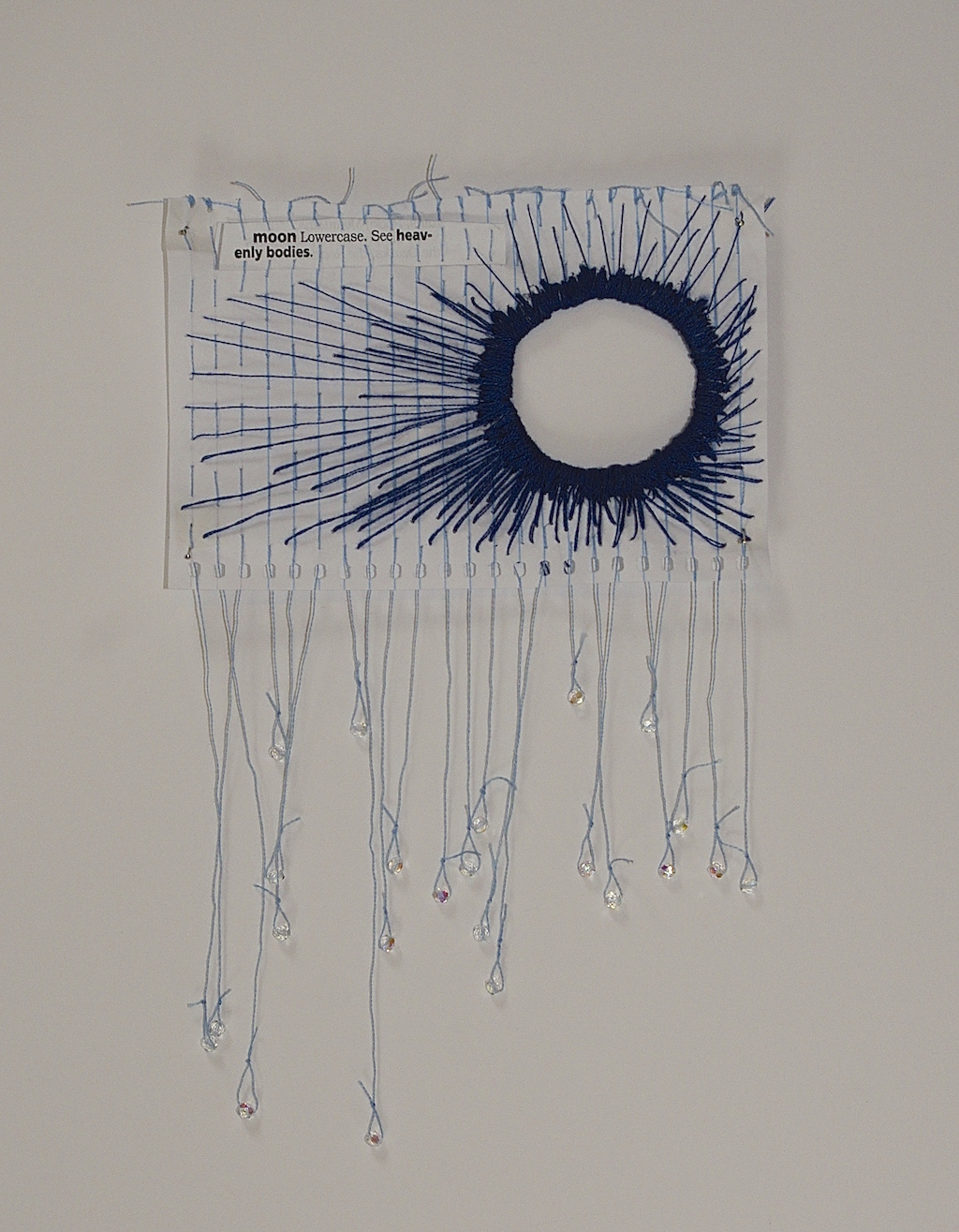"""See """"Heavenly Bodies,"""" 2014, found text, thread, and mini notebook pape"""