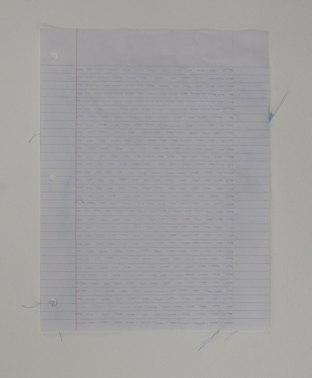 Practice Sheet  I , 2014, embroidery thread and loose leaf paper