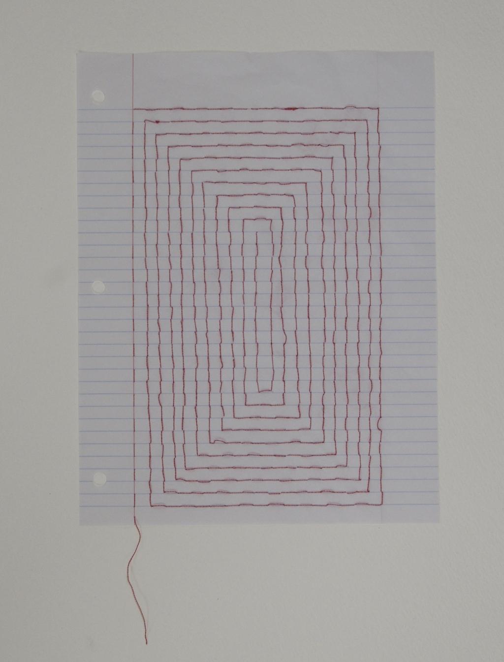 Carpet Page: Labyrinth , 2014, embroidery thread on loose leaf
