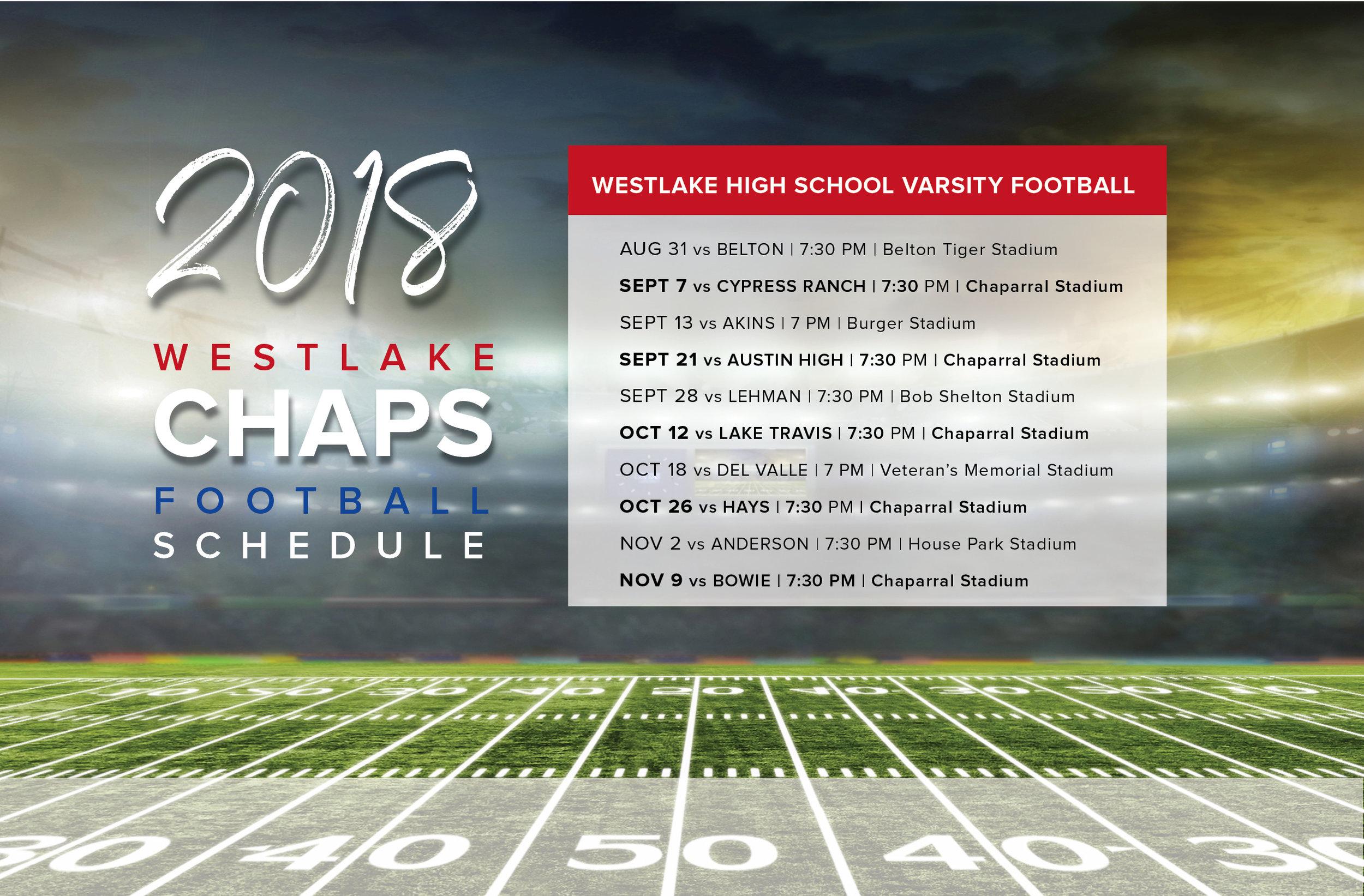 Westlake High School Football Schedule Fall 2018