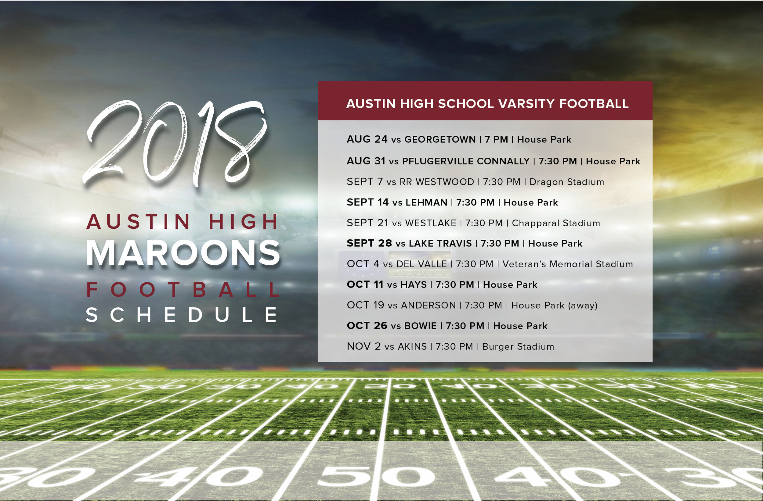 Austin High School Football Schedule Fall 2018