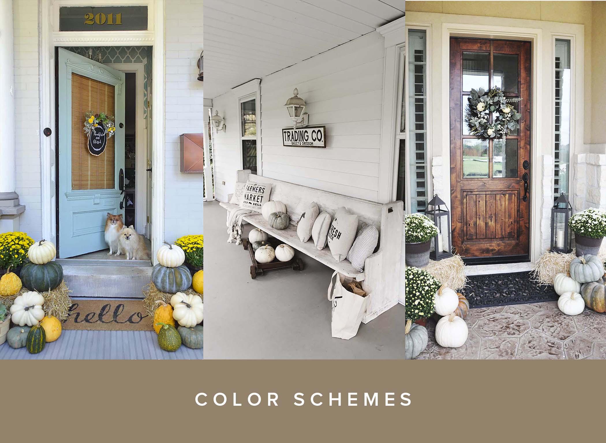 Pumpkin Front Door Decor Inspo Color Scheme