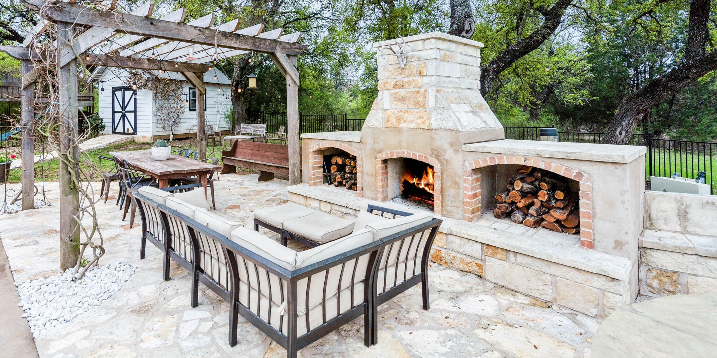 outdoor couch and fire pit