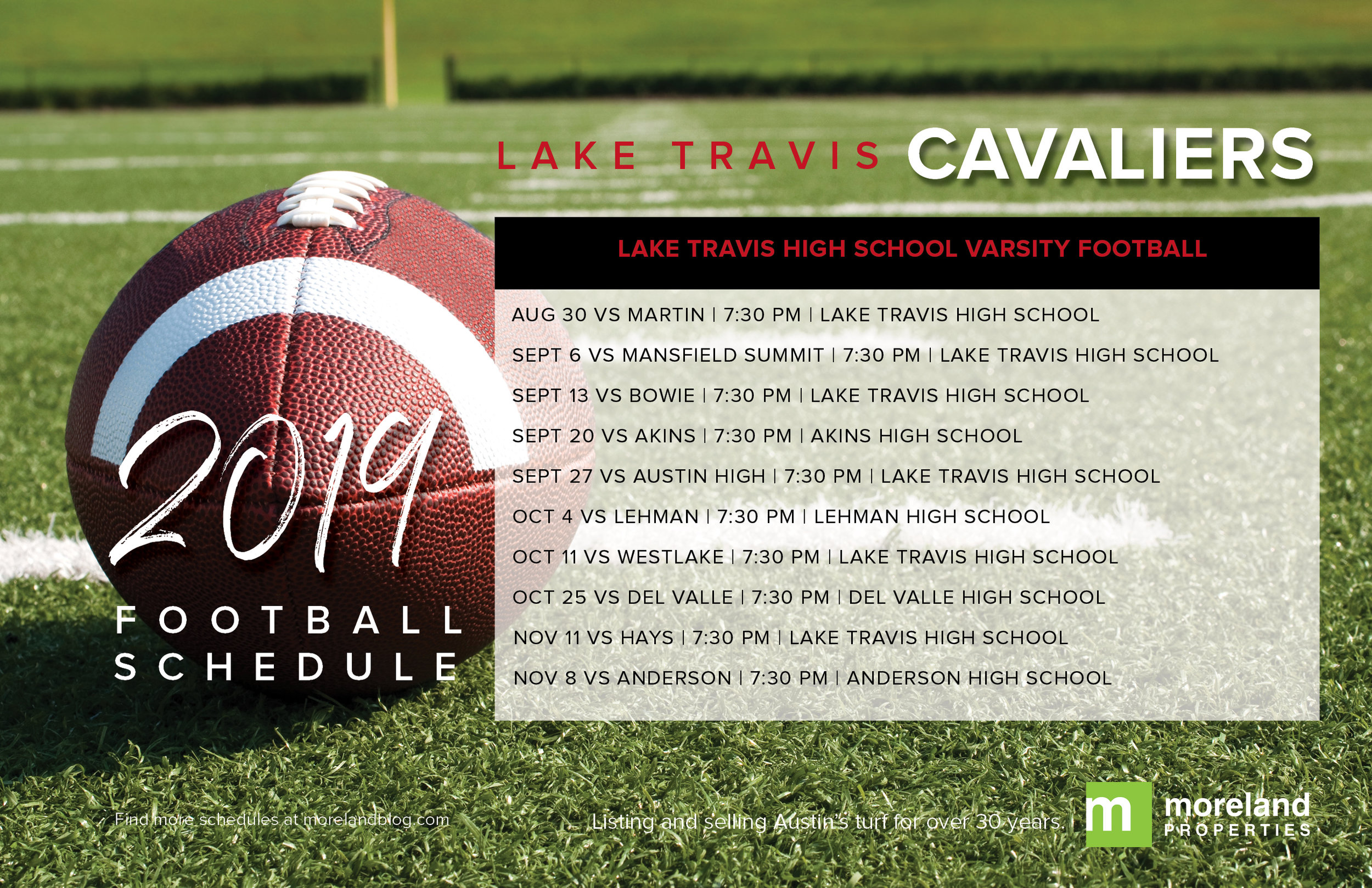 2019 Lake Travis Football Schedule