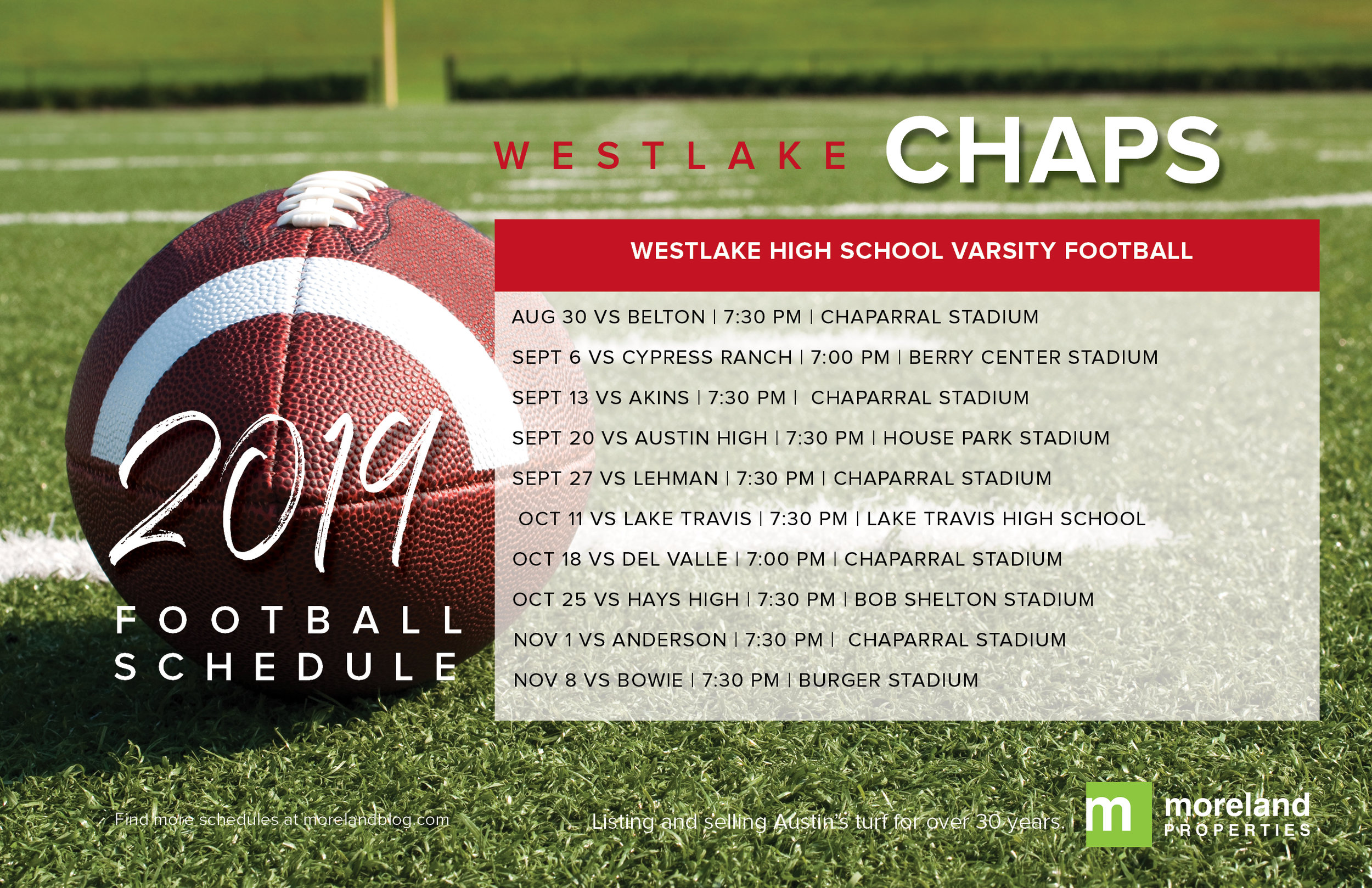 Westlake Chaps 2019 Football Schedule