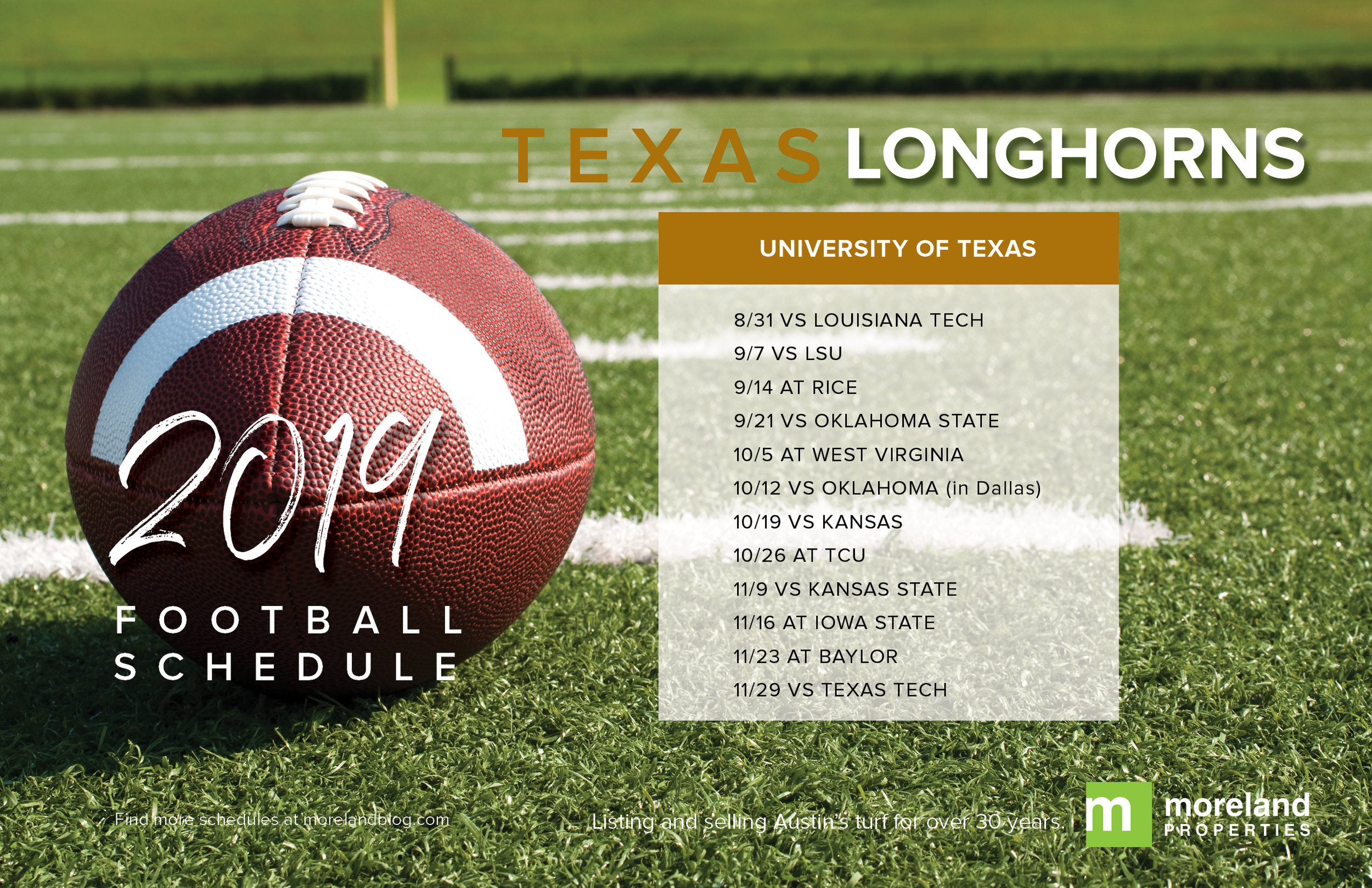 University of Texas Longhorn Football Schedule 2019