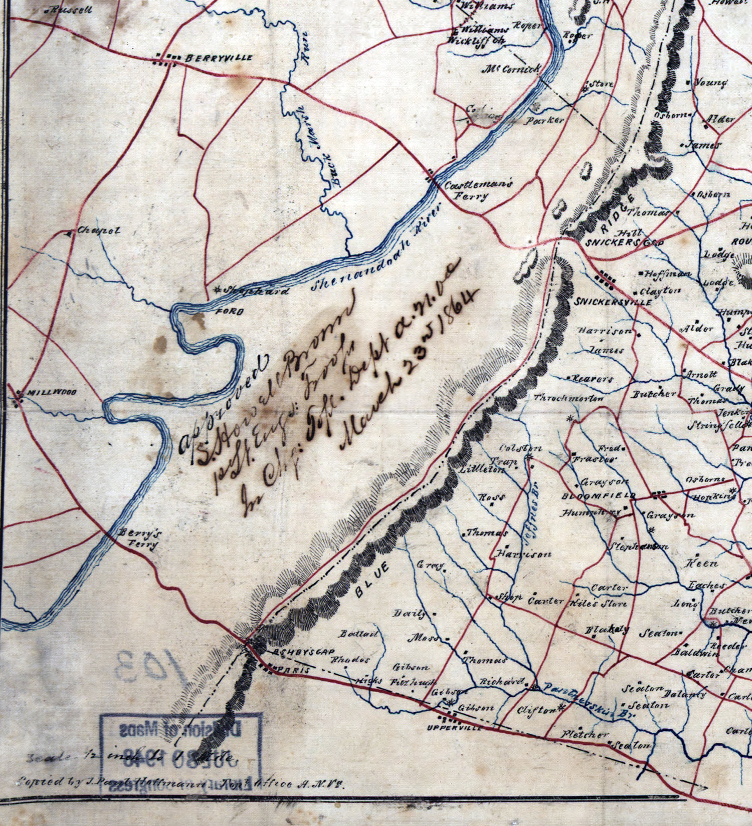 1864 Survey Map Showing Only Shephard's Mill