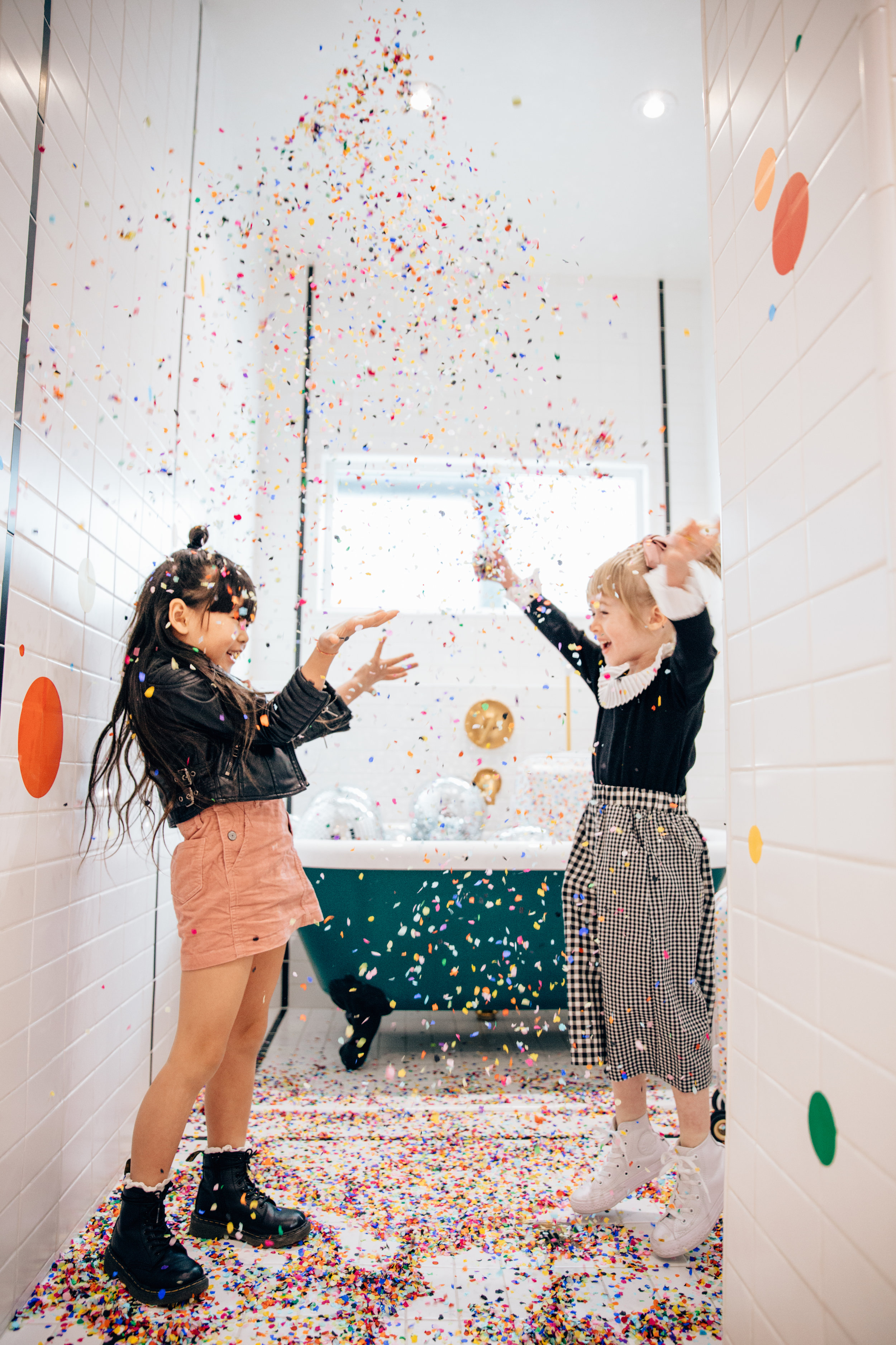 Making it rain in the confetti shower with Zooey from  @zooeyinthecity !