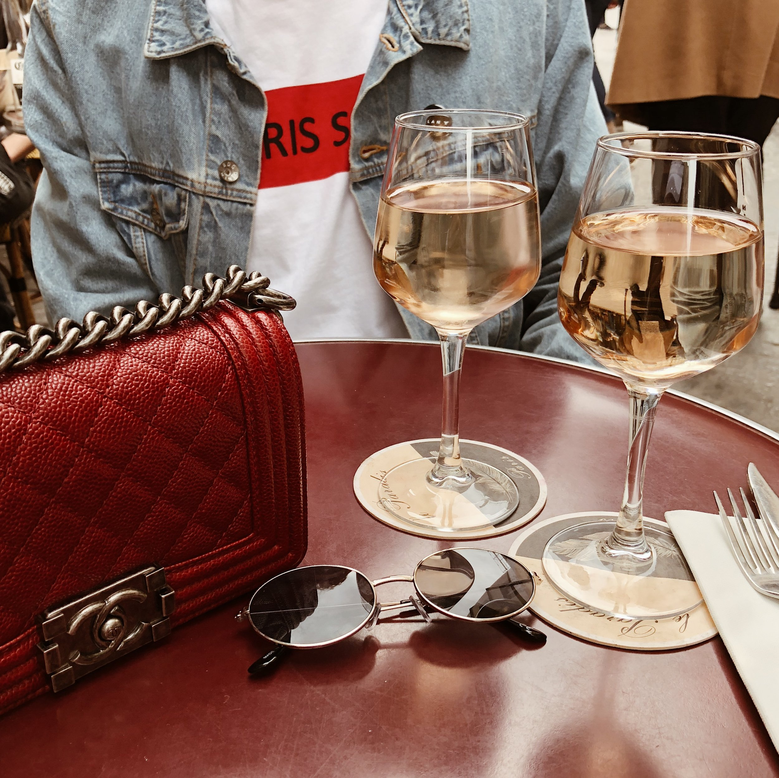 @thestyleseed and two glasses of wine in Paris.