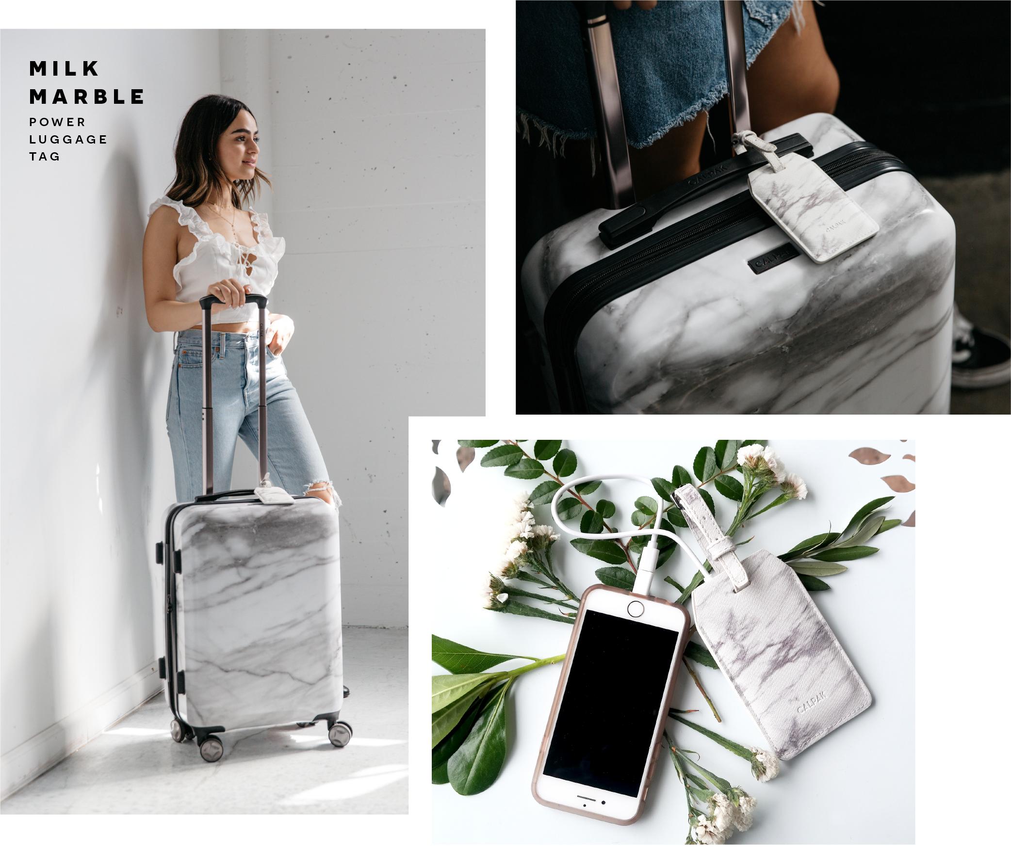 Photos of CALPAK's Milk Marble Power Luggage Tag