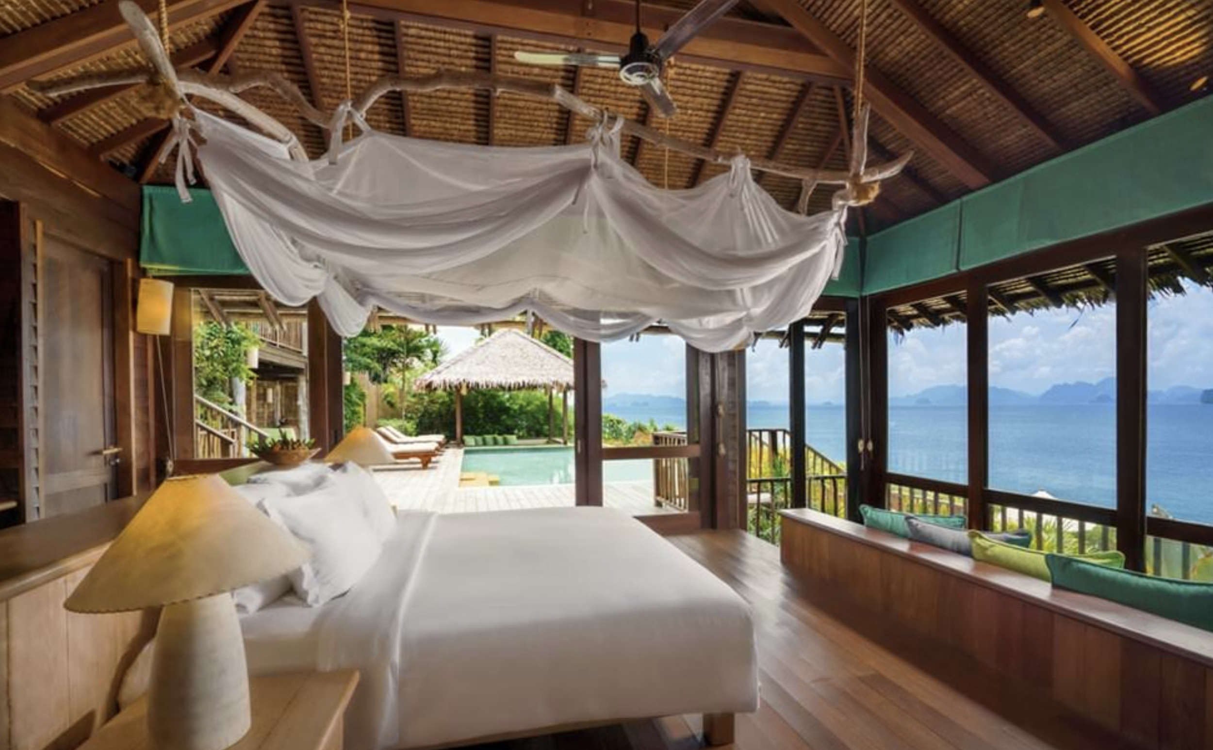 Six Senses Yao Noi (Phang Nga Bay, Thailand)     AMENITIES:  This is a very private location with optimal personal space and a variation of exotic accommodations.