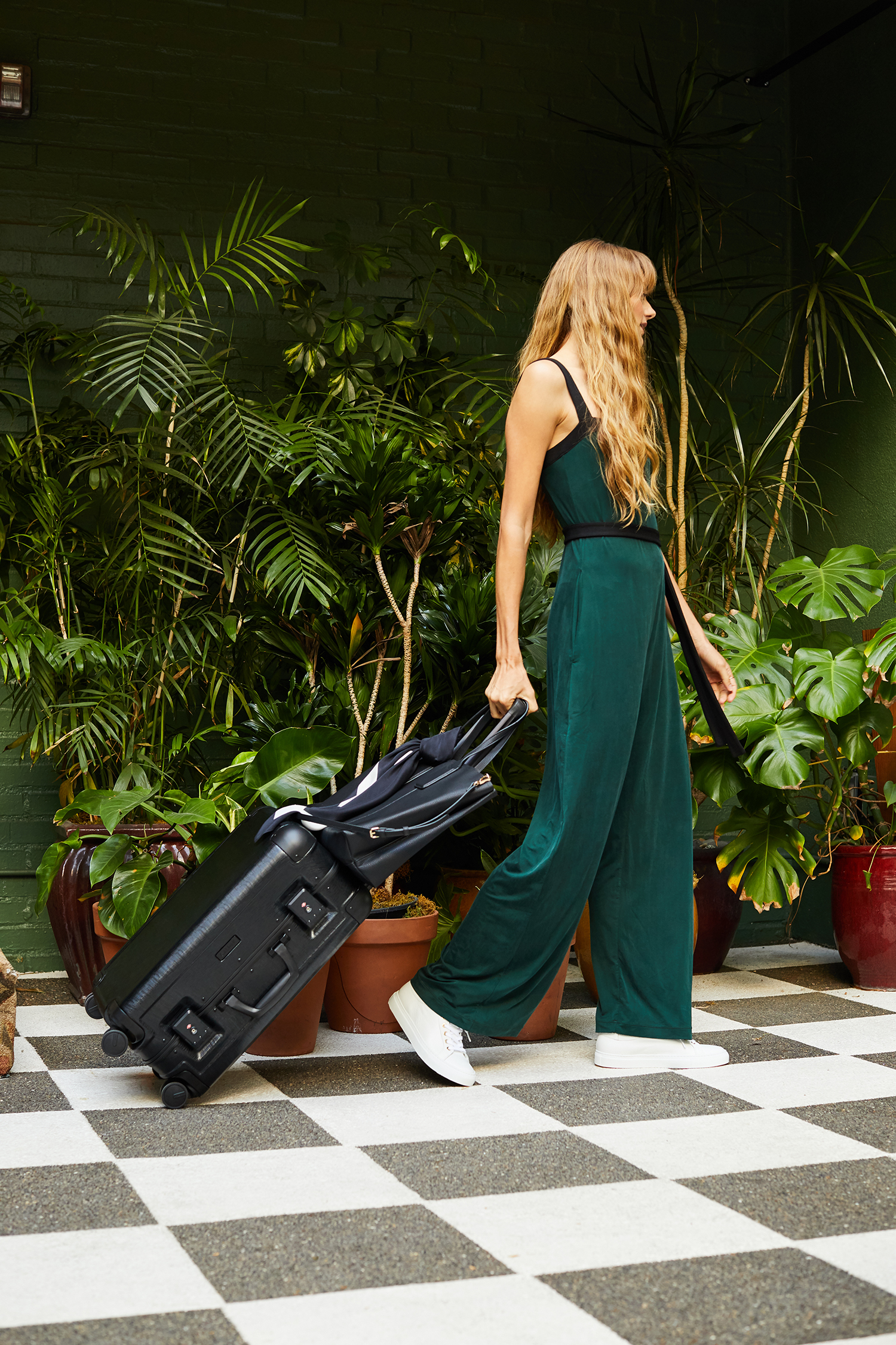 FEATURED:   Summersalt - The 24 Hour Jumpsuit  ($145),  Jen Atkin x CALPAK Carry-On in Black  ($285)